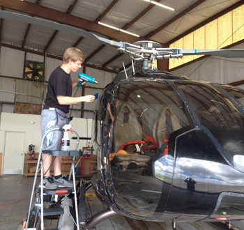 Josh Hinton says after tinting his first helicopter he's willing to consider adding the service to the types of installation his company offers.