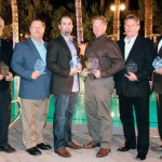 The recognzied Vista dealers include, from left: Nathan Saikali of APW Film in Ottowa, Ontario; Bob Viehmeyer of Del-Val Window Tint in Warminster, Pa.; Mike Castelli of Solar/Tek Window Tinting Inc. in Tampa, Fla.; Mike Wanke of Mobile Tint/A1 Glass Coating in San Antonio, Texas; Jim Brown of Suntrol in Cleveland, Ohio; and Peter Mott of Sunmaster Window Films in Napa, Calif.