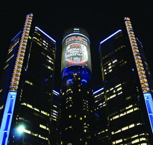 i.M. Branded performed a 34,000-square-foot building wrap on GM's Renaissance Center. The project received national attention when it was featured on the opening night of Monday Night Football.