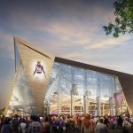 The new Minnesota Vikings stadium - set to open in 2016 - has upwards of 190,000 square feet of glass.