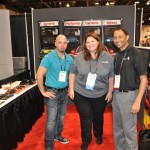 Adam Feldman of Advanced Window Solutions, Sarah Ortiz of Service Group Distribution and Harry Rahman of Huper Optik USA represent the brand at the 2015 International Window Film Conference and Tint-Off in Reno.
