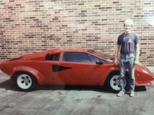 Freund in front of a newly-tinted Lamborghini.